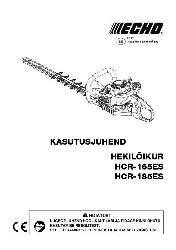 HCR-165ES-kasutusjuhend