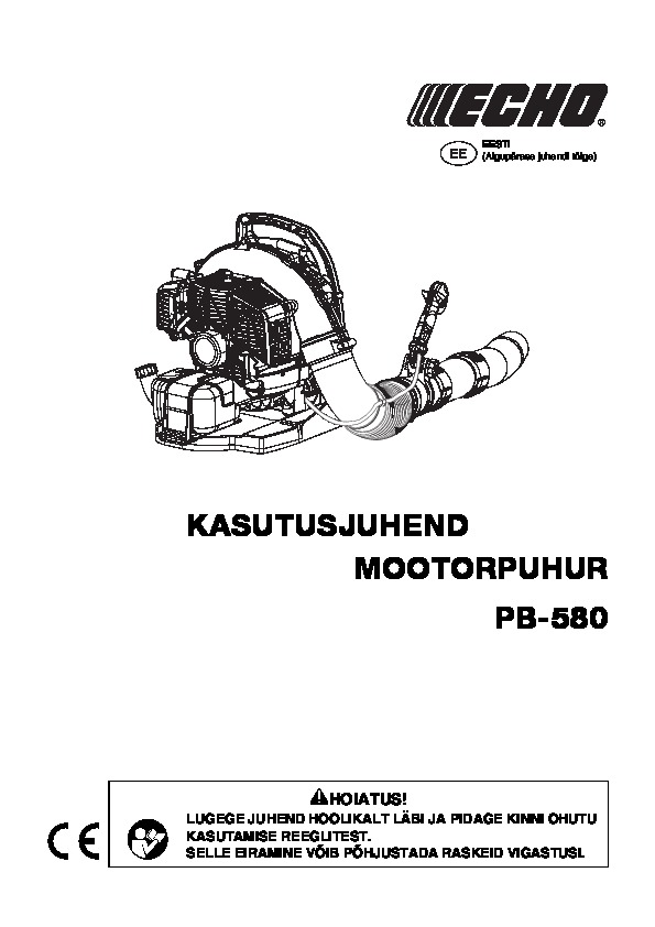 Operating manual for PB-580 EE