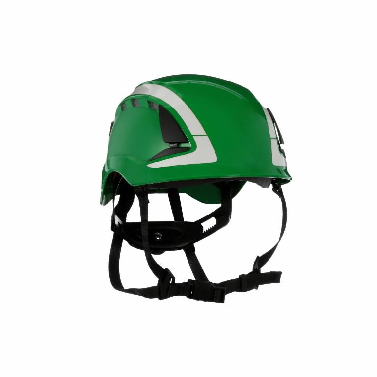 Kaitsekiiver SecureFit, ventileeritud, helkuritega, roheline