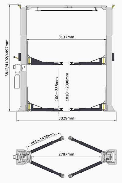 2-post lift el.hydraulic A255C 5,5T AMGO, Peaklift