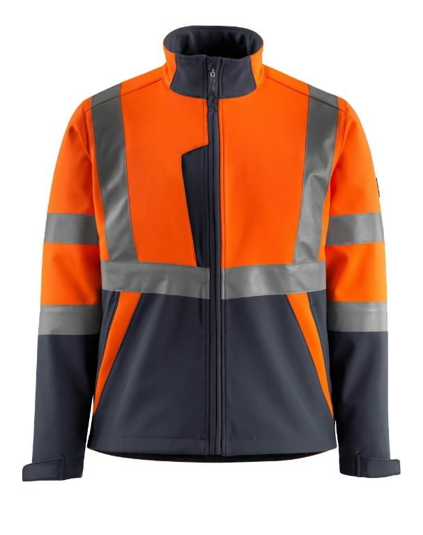 Softshell jakk Kiama kõrgnähtav CL2, oranz/t.sinine XL, Mascot