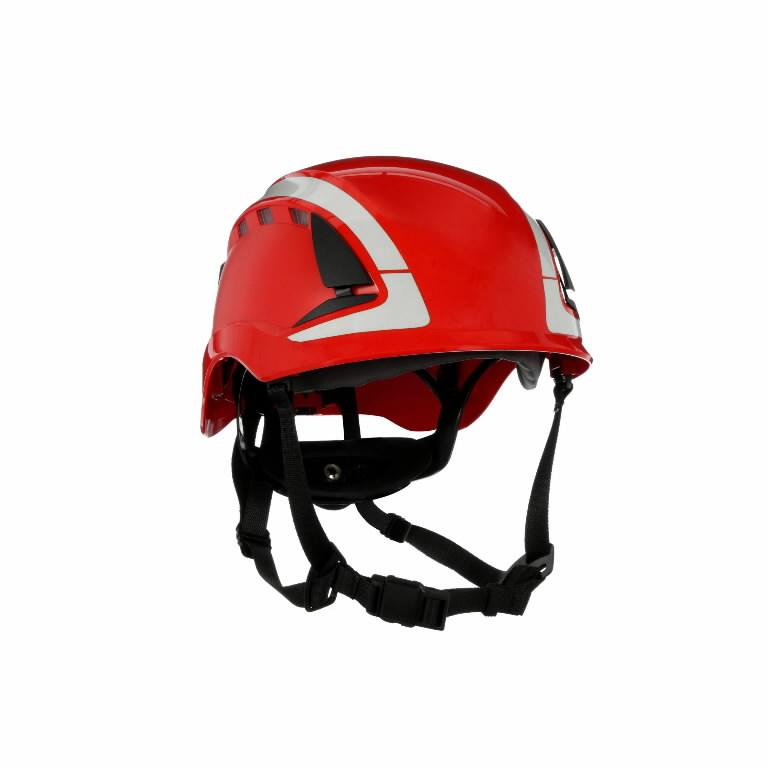 Kaitsekiiver SecureFit, ventileeritud, helkuritega, punane X