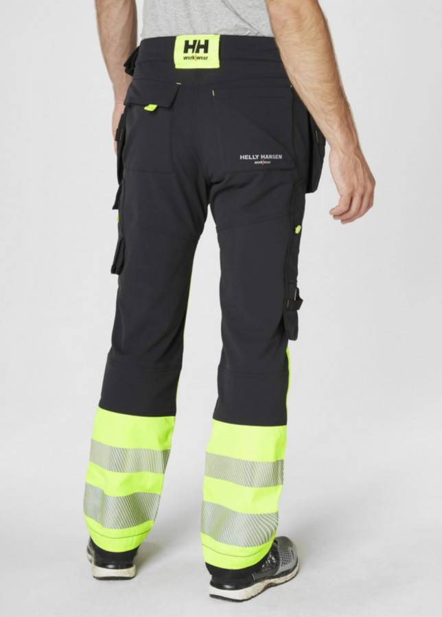 Tööpüksid ripptaskutega Icu kõrgnähtav CL1, kollane/must D100, Helly Hansen WorkWear