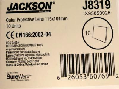 Kaitseklaas, välimine, läbipaistev, 115x104mm WH20, Jackson