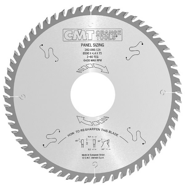 LAMINATE CHIPBOARD SAW BLADE HW 320x4.4x3.2x65+4 Z72 16° TGC, CMT