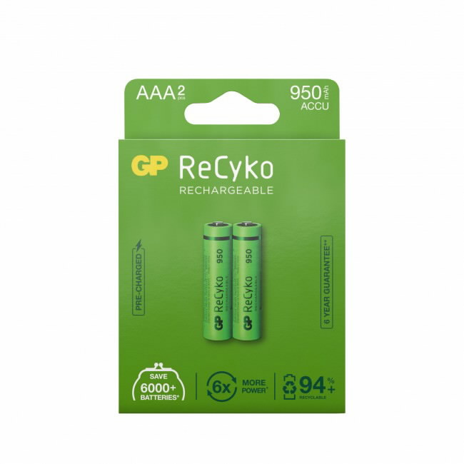 Aku patarei AAA/R03, 1,2V, 950 mAh, ReCyko, 2tk, GP
