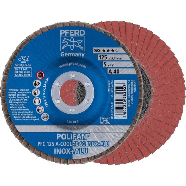 Vėduoklinis diskas 125mm P40 A-COOL SG INOX+ALU PFC, Pferd