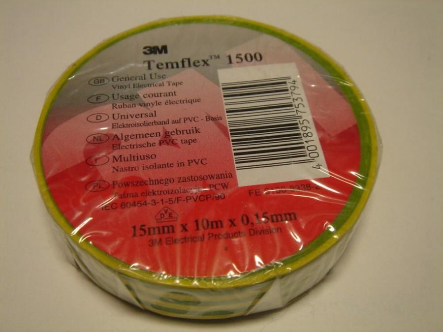 Elektriisolatsiooniteip Temflex 1500 19mm x 20m rohel/kollan, 3M