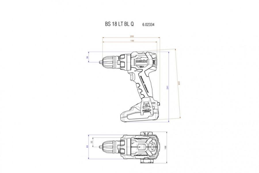 Akutrell BS 18 LT BL Quick, kohvris / 2xLiHD 4,0Ah, Metabo