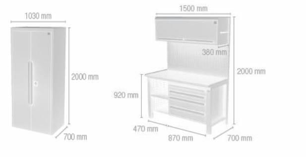 Töökoha komplekt: Sahtlitega laud, Kapp, sein 2,5m, Keen Space