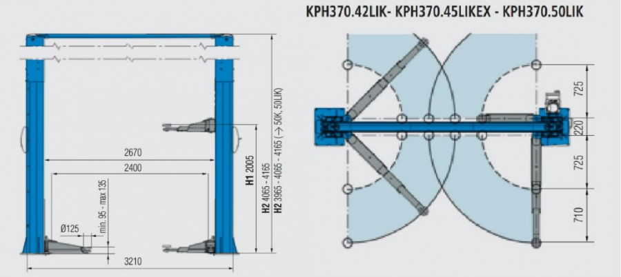 2-post tõstuk KPH370.42LIK 4,2T , Ravaglioli