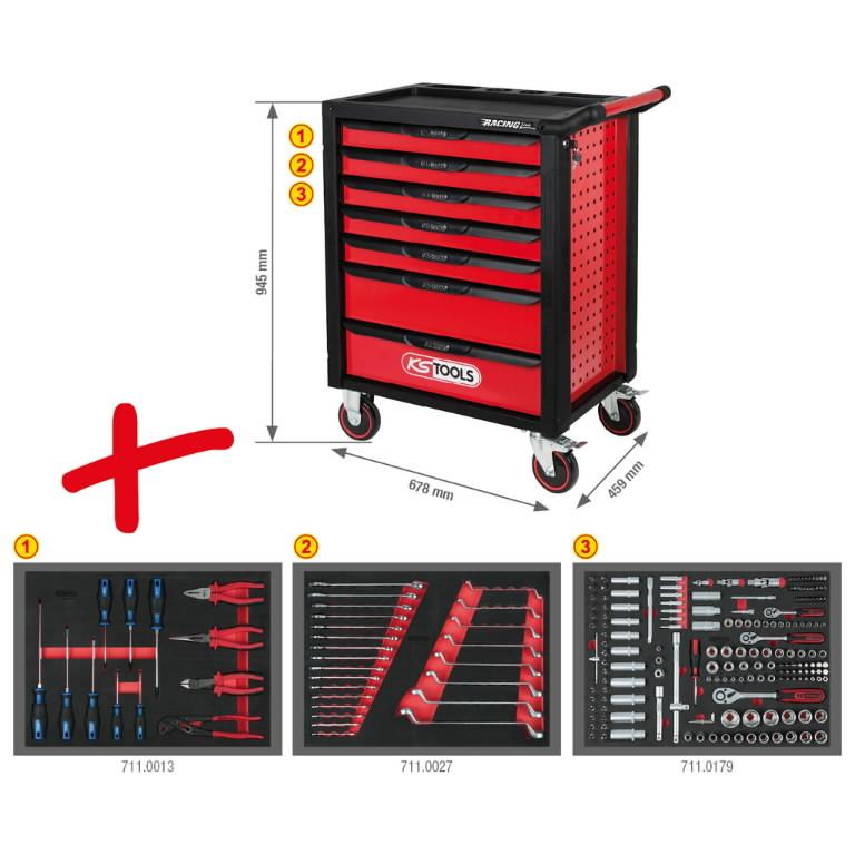 Įrankių vežimėlis RACINGline, 7 stalčiai +215vnt įrankių, KS Tools