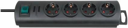Pikendusjuhe  1,5m Primera-Lin, 4 pesa, H05VV-F 3G1,5, must, Brennenstuhl