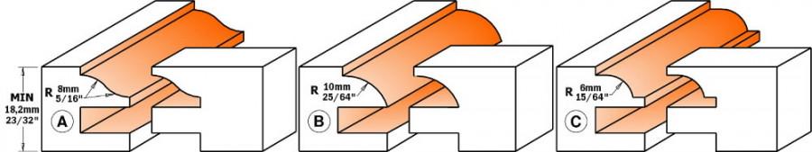 RAIL & STILE SET -TCT- S=12,7 D=44.4 (A), CMT