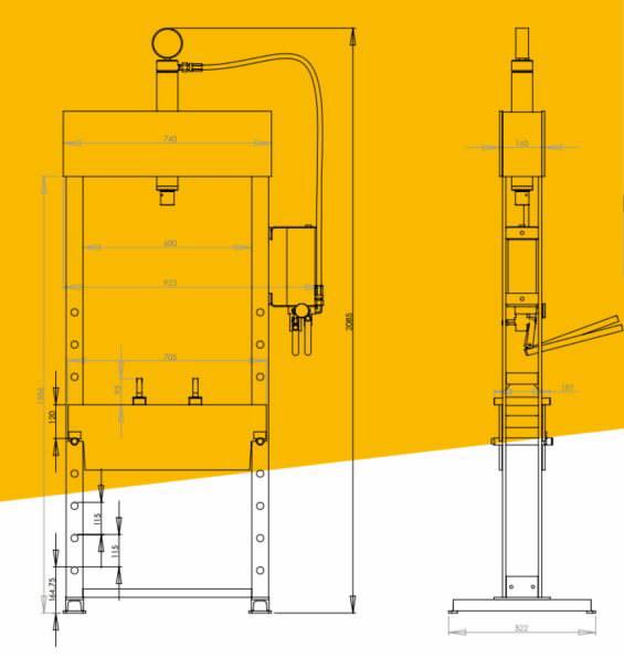 Hüdropress 15T, kahekiirusega käsipump, Winntec
