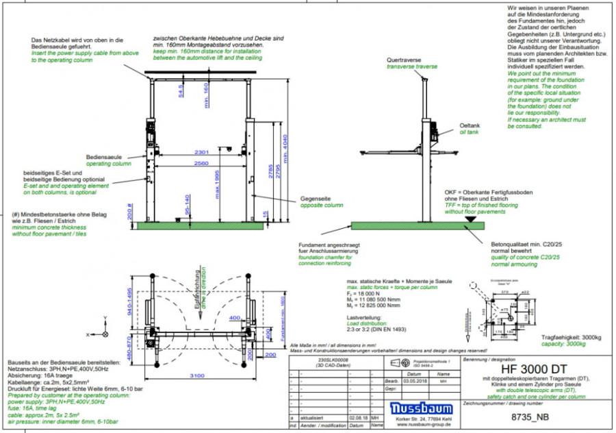 2-statņu pacēlājs POWER LIFT HF 3000 DT 3T RAL5001, Nussbaum
