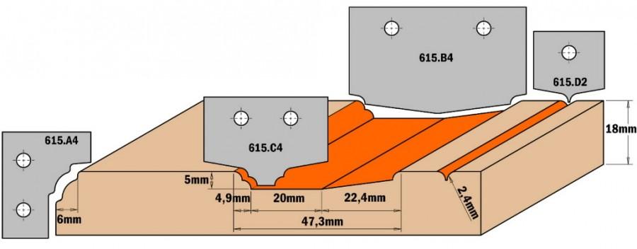 HW KNIFE (PROFILE B4) 50X30X2, CMT