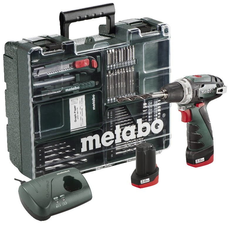 Akutrell PowerMaxx Basic Mobile Workshop, 63 osa, (2x2,0Ah), Metabo