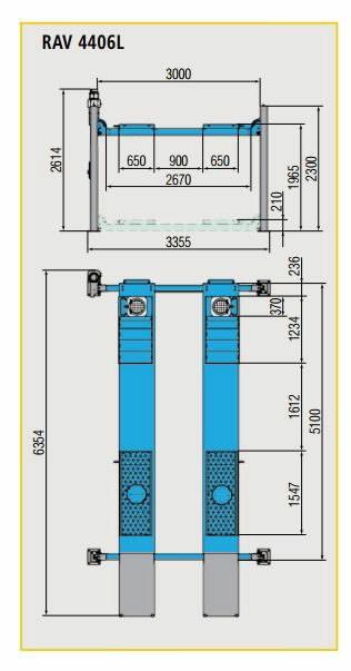 4-column lift 4406L 4T 5100mm alignment, , Ravaglioli