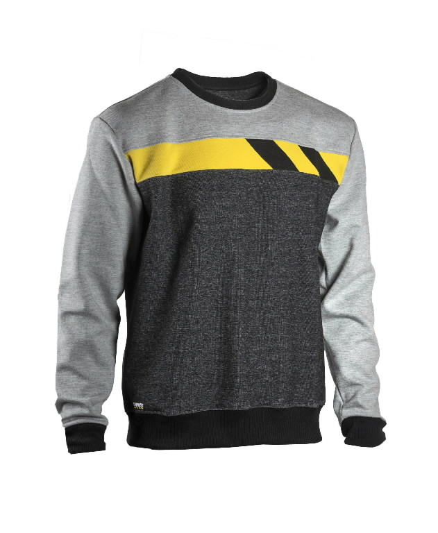 Sweatshirt 4558+, grey/light grey/yellow M, Dimex