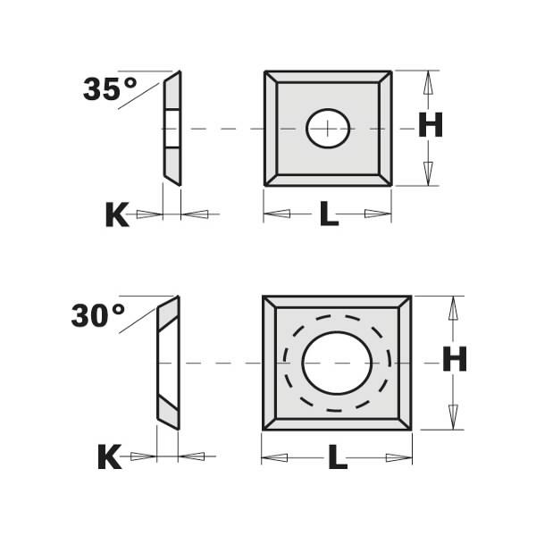 HWF1739 WENDEPLATTE (4 SCHNEIDEN 30°) 13.6X13.6X2MM, CMT