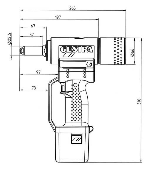 Akuga needipüstol  POWERBIRD 4,8-6,4mm neetidele+kuni8mm alu, Gesipa
