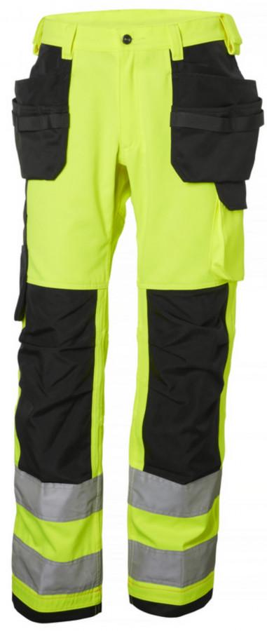 Tööpüksid ripptaskutega Alna kõrgnähtav CL2, kollane/must C60, Helly Hansen WorkWear