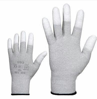 Cimdi, neilona, ESD, PU pirkstu gali. 10