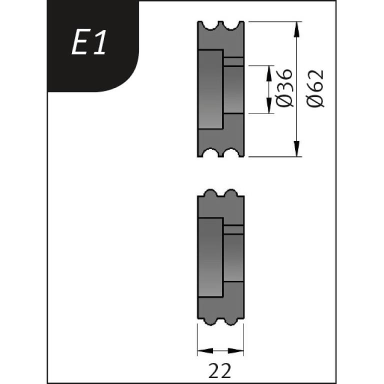 Lisarullikud sikemasinale E1, Ø62x36x22mm, Metallkraft