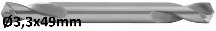 Double end drill HSS-G Ø3,3mm, 10pcs, Exact