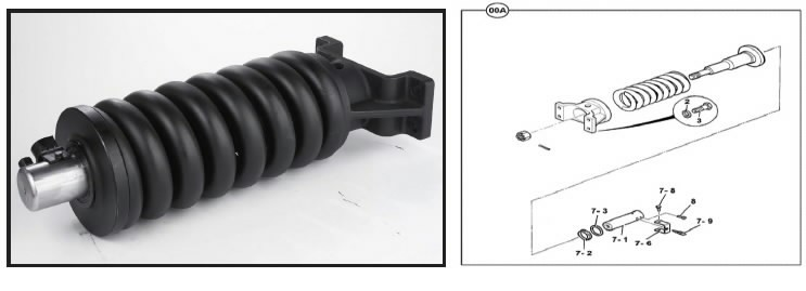 Ķēdes spriegotājmehānisms, JS180-220, JCB
