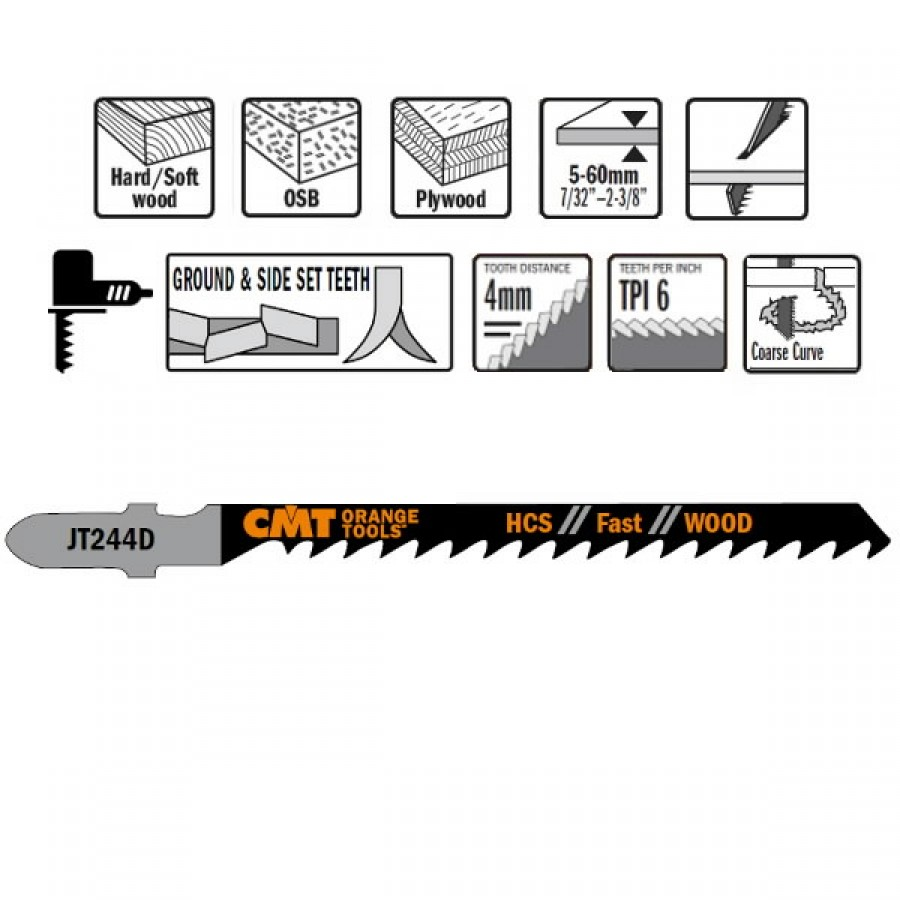 Tikksaetera puidule 75x4mm Z6TPI HCS 5tk pakis, CMT