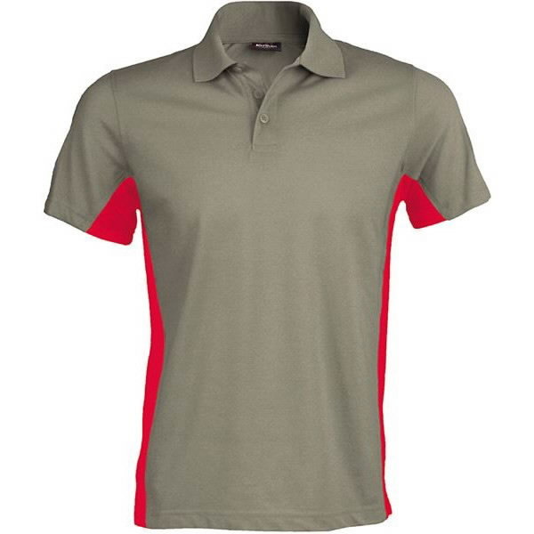 Albany tennis Senso di colpa  Short-sleeved two-tone polo shirt light grey/red XL - T-shirts, polo shirts