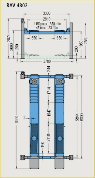 4-post tõstuk RAV4802 8T 6000mm sillastendile, , Ravaglioli