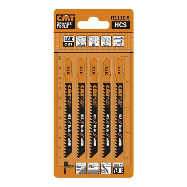 Jig saw blades for wood 75x3/8TPI HCS 5pcs/pack, CMT