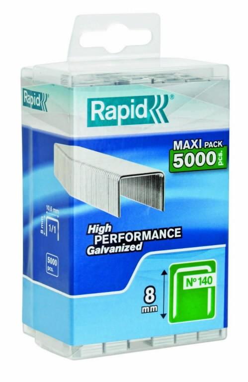 Klambrid 140/8 5000tk, 10,6x1,3mm, roheline, plastkarbis, Rapid