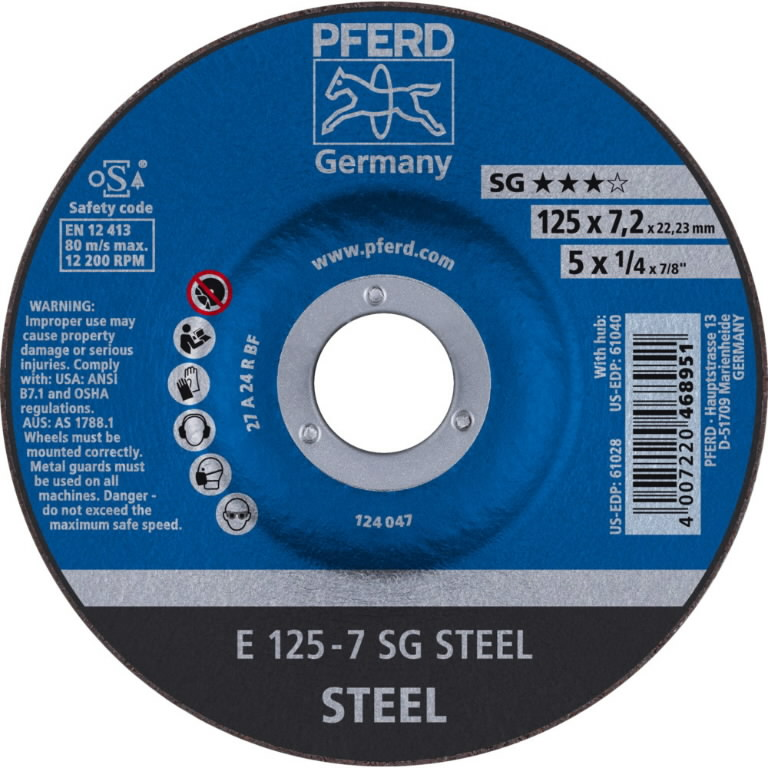 Metallilihvketas 125x7mm SG STEEL, Pferd