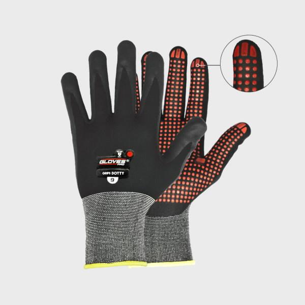 Cimdi, putots Nitrils,Punktota plaukstas daļa,Grips Dotty 9, Gloves Pro®