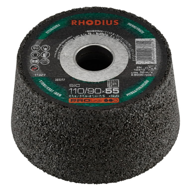 Puodelis akmeniui 110/90x55x22,23 SIC60, Rhodius