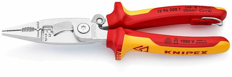 Elektriku näpitslõikurid 200mm VDE konksuga, Knipex