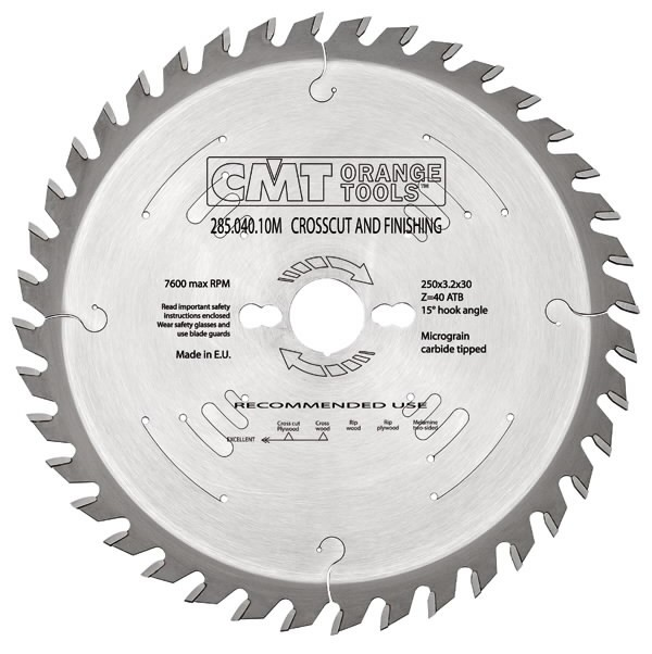 FINISHING SAW BLADE 250X3.2X30 Z60 15ATB, CMT