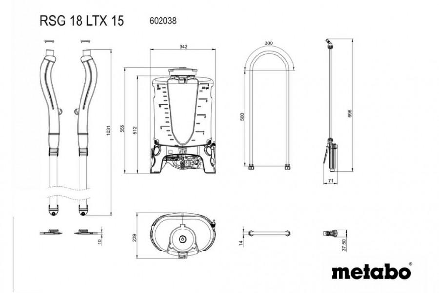 Akuga aiaprits RSG 18 LTX 15, karkass, Metabo