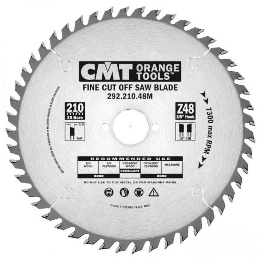FINE CUT SAW BLADE 210X2.8X30 Z=64 15° ATB, CMT