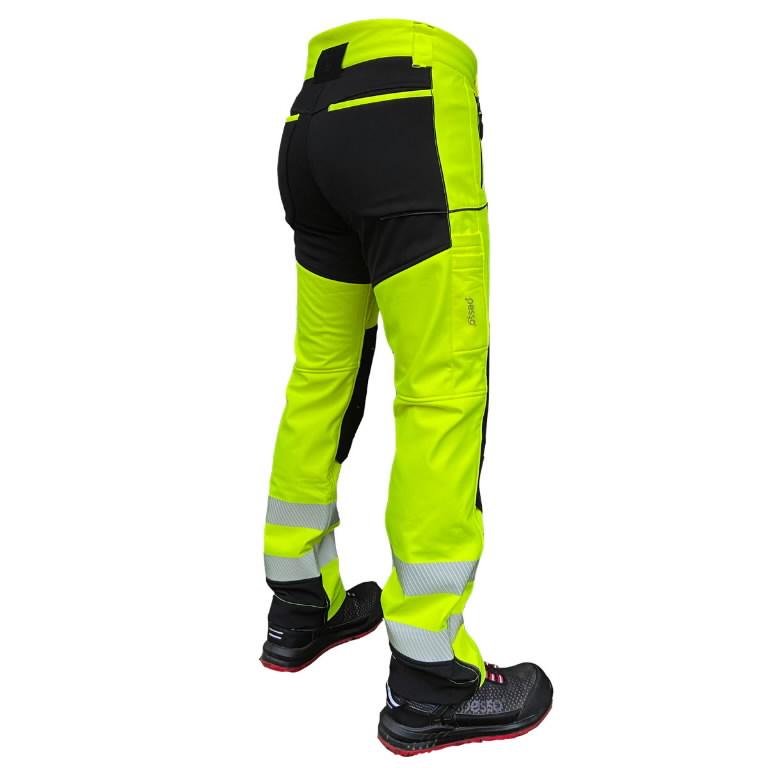 Softshell püksid Nebraska, kõrgnähtav CL2, kollane/must C60