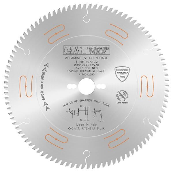 CIRCULAR SAW BLADE CHROME HW 300X3.2/2.2X30 Z96 TCG-3°NEG, CMT