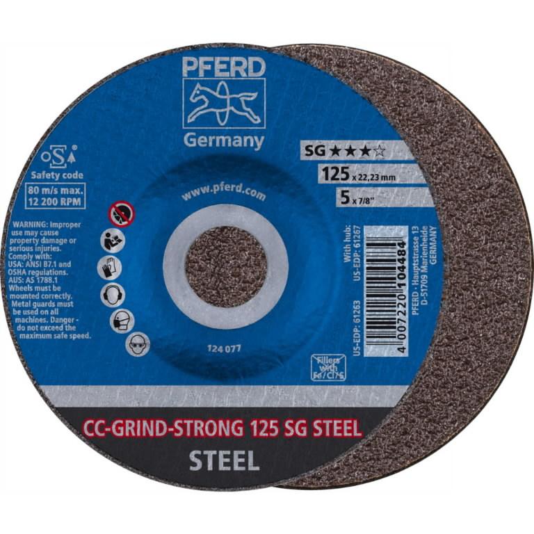 Šķiedras disks 125mm SG STEEL CC-GRIND-STRONG, Pferd