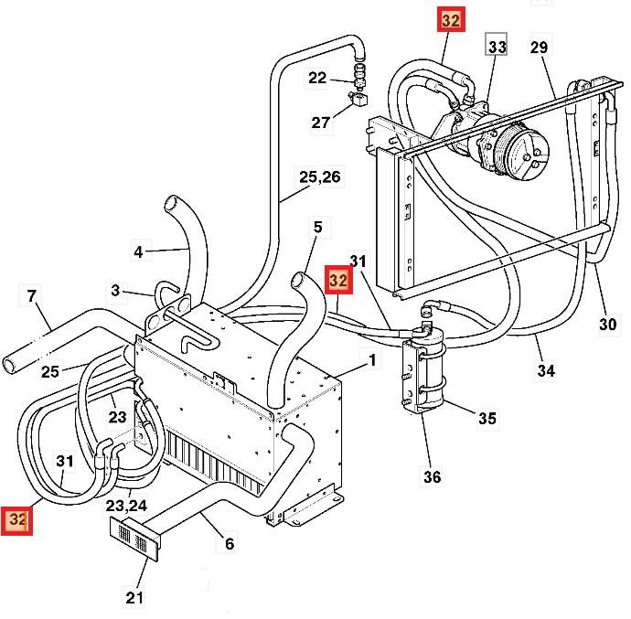 hose txv to compressor, jcb 332/k1591&jcb , c ean: 332/k1591