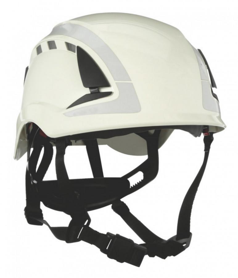 Kaitsekiiver SecureFit, ventileeritud, helkuritega, valge X5