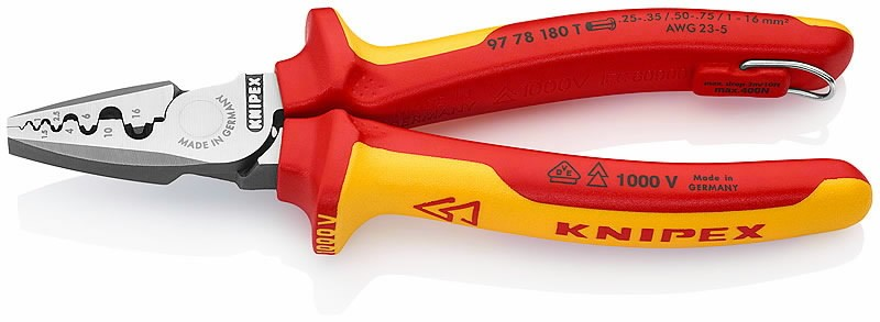 Klemmitangid otsaklemmidele 0,25-16mm2 VDE konksuga, Knipex