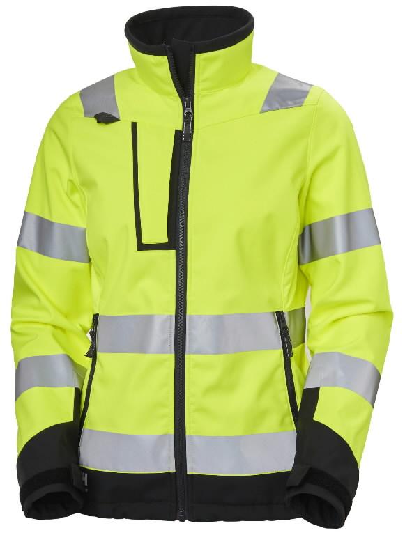 Softshell jakk Luna naiste kõrgnähtav CL2, kollane/must L, Helly Hansen WorkWear